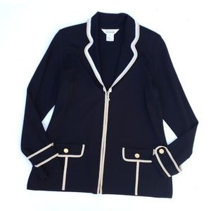 Exclusively Misook Black Gold White Zip Up Jacket